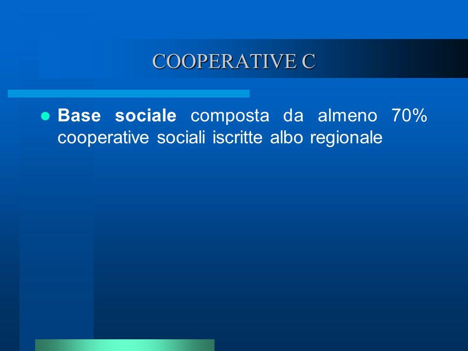 COOPERATIVE C Base sociale composta da almeno 70% cooperative sociali iscritte albo regionale