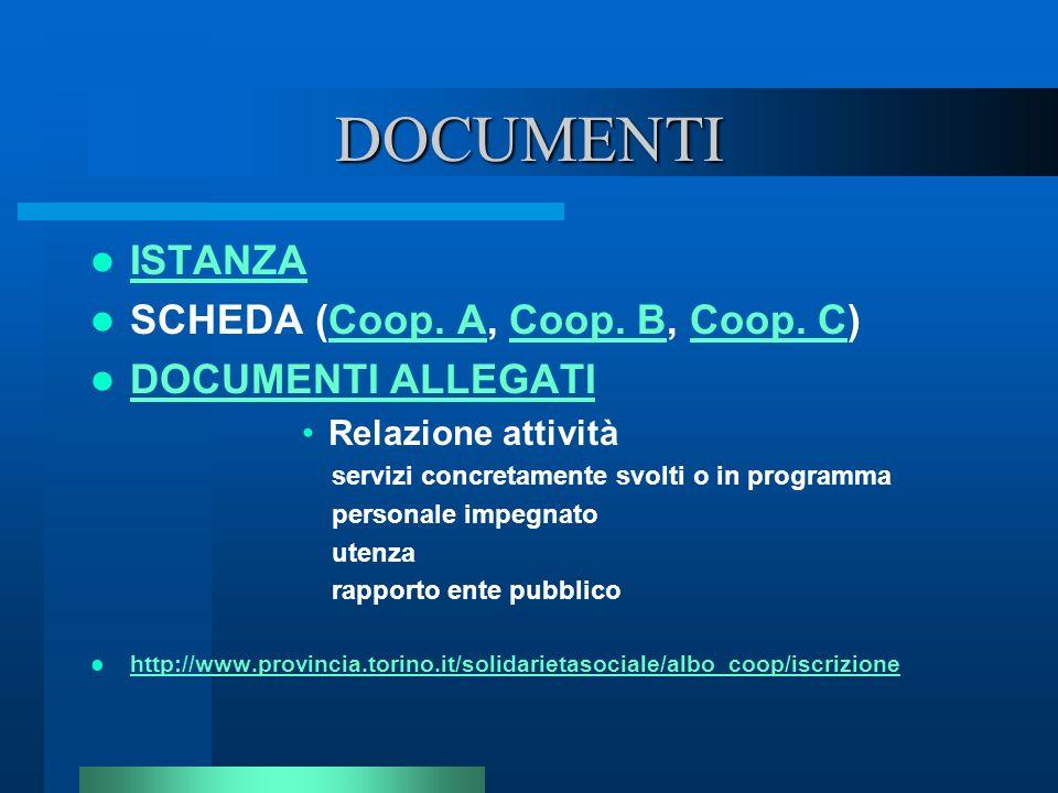 DOCUMENTI ISTANZA SCHEDA (Coop. A, Coop. B, Coop. C)Coop. ACoop. BCoop. C DOCUMENTI ALLEGATI Relazione attività servizi concretamente svolti o in prog