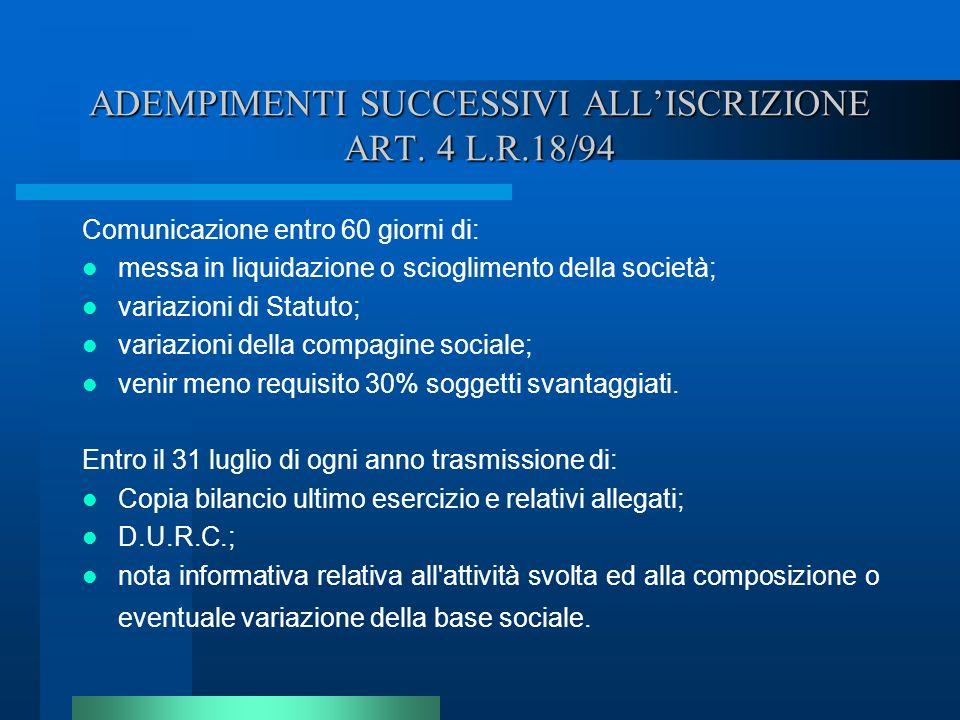ADEMPIMENTI SUCCESSIVI ALLISCRIZIONE ART. 4 L.R.18/94 Comunicazione entro 60 giorni di: messa in liquidazione o scioglimento della società; variazioni