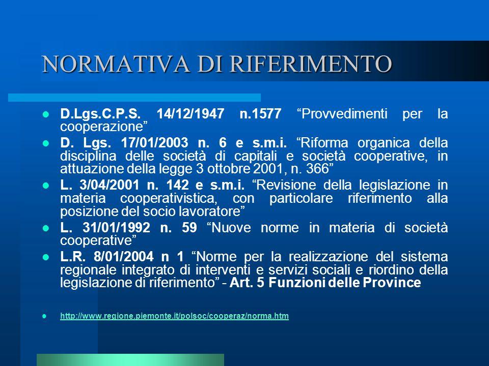 NORMATIVA DI RIFERIMENTO D.Lgs.C.P.S. 14/12/1947 n.1577 Provvedimenti per la cooperazione D. Lgs. 17/01/2003 n. 6 e s.m.i. Riforma organica della disc