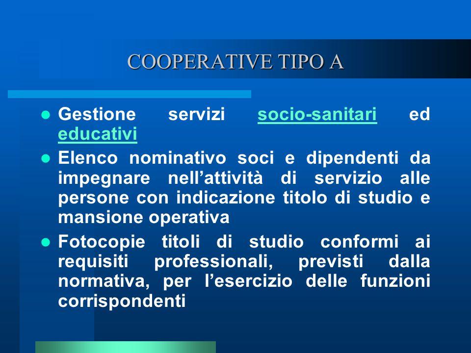 COOPERATIVE TIPO A Gestione servizi socio-sanitari ed educativisocio-sanitari educativi Elenco nominativo soci e dipendenti da impegnare nellattività