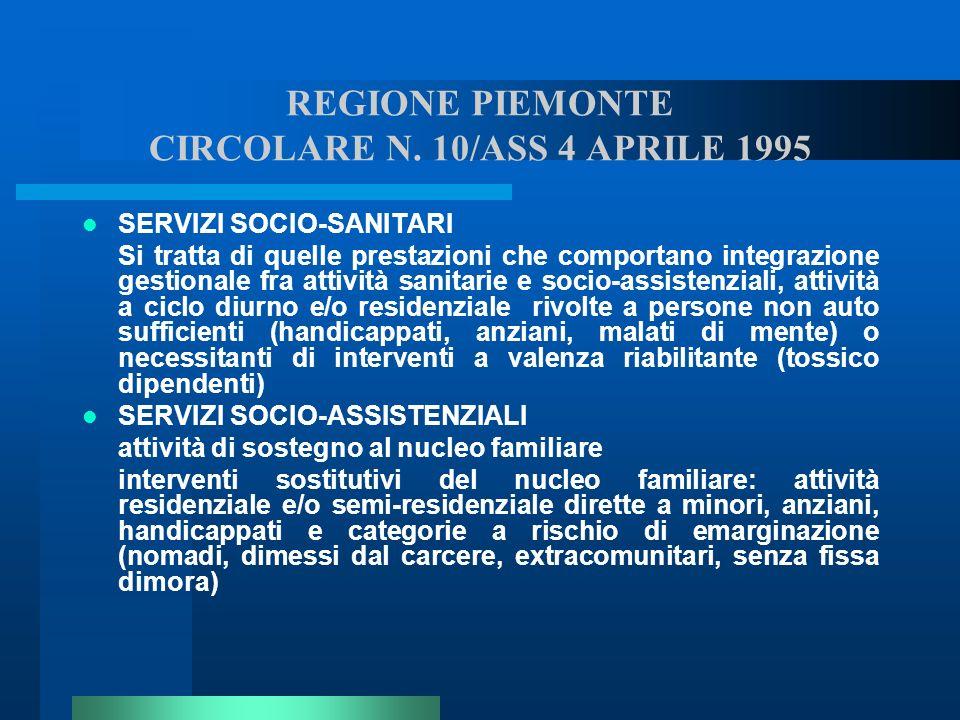 REGIONE PIEMONTE CIRCOLARE N. 10/ASS 4 APRILE 1995 SERVIZI SOCIO-SANITARI Si tratta di quelle prestazioni che comportano integrazione gestionale fra a