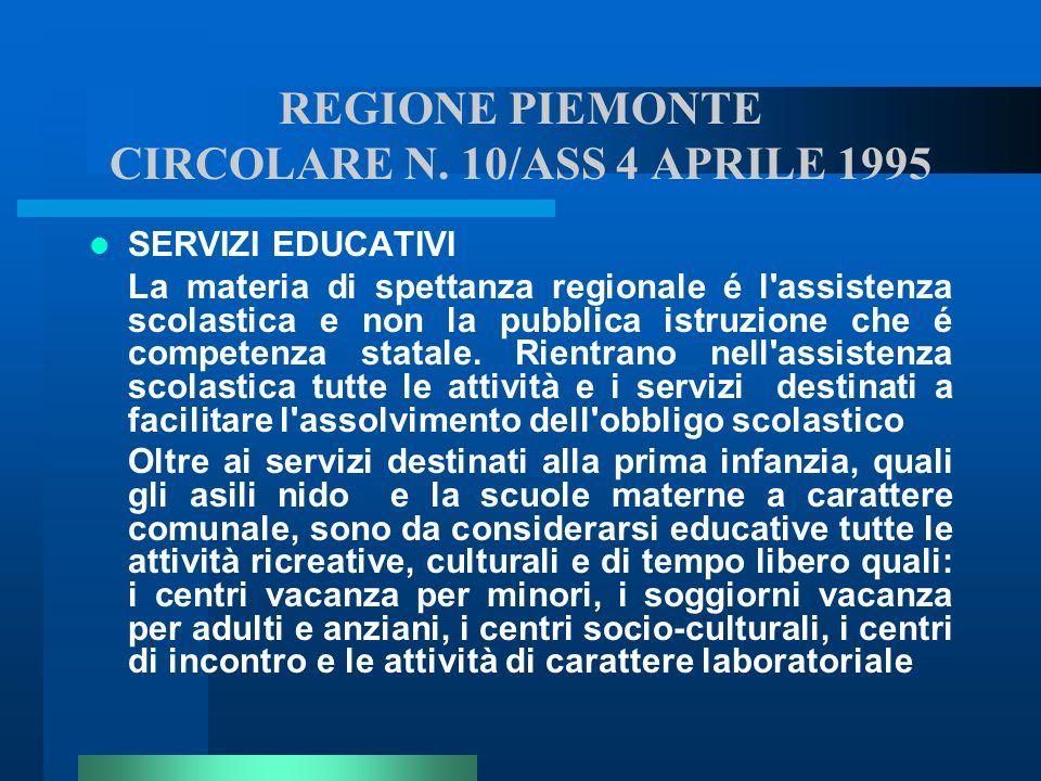 REGIONE PIEMONTE CIRCOLARE N. 10/ASS 4 APRILE 1995 SERVIZI EDUCATIVI La materia di spettanza regionale é l'assistenza scolastica e non la pubblica ist