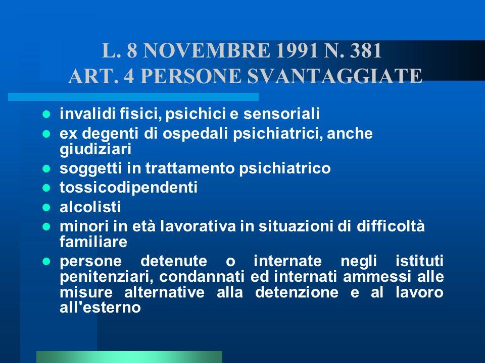 L. 8 NOVEMBRE 1991 N. 381 ART. 4 PERSONE SVANTAGGIATE invalidi fisici, psichici e sensoriali ex degenti di ospedali psichiatrici, anche giudiziari sog