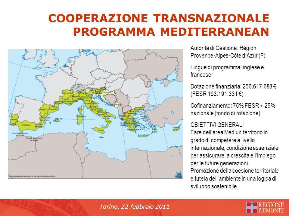 Torino, 22 febbraio 2011 COOPERAZIONE TRANSNAZIONALE PROGRAMMA MEDITERRANEAN Autorità di Gestione: Région Provence-Alpes-Côte dAzur (F) Lingue di programma: inglese e francese Dotazione finanziaria: 256.617.688 (FESR 193.191.331 ) Cofinanziamento: 75% FESR + 25% nazionale (fondo di rotazione) OBIETTIVI GENERALI Fare dellarea Med un territorio in grado di competere a livello internazionale, condizione essenziale per assicurare la crescita e limpiego per le future generazioni.