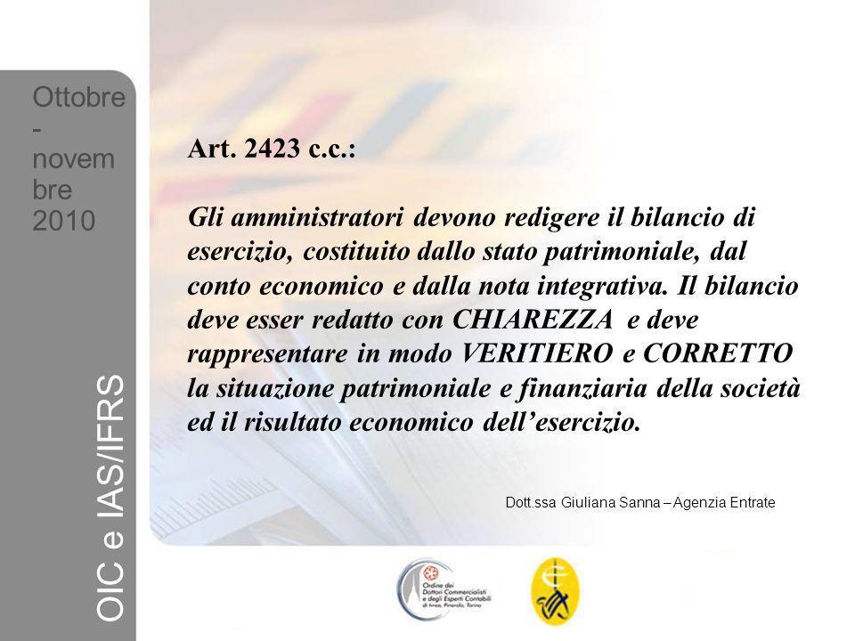 Dott.ssa Giuliana Sanna – Agenzia Entrate Ottobre - novem bre 2010 OIC e IAS/IFRS FINALITA (2423 c.c.) PRINCIPI DI REDAZIONE (2423 bis c.c.) PRINCIPI CONTABILI