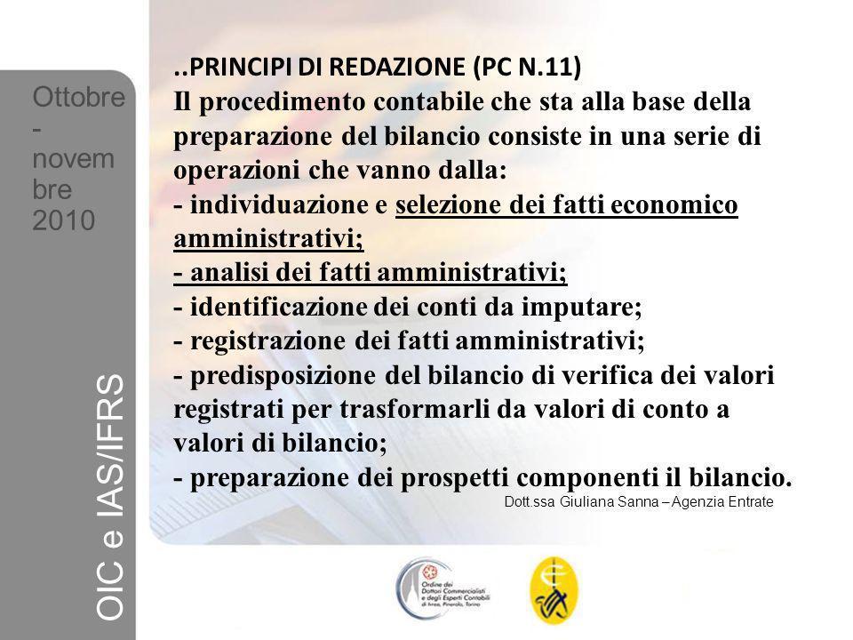 ..PRINCIPI DI REDAZIONE (PC N.11) Il sistema contabile-amministrativo deve esser in grado di fornire i dati necessari per preparare i bilanci.