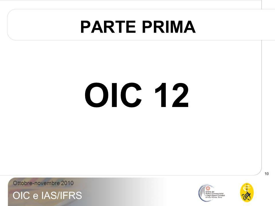 10 Ottobre-novembre 2010 OIC e IAS/IFRS PARTE PRIMA OIC 12
