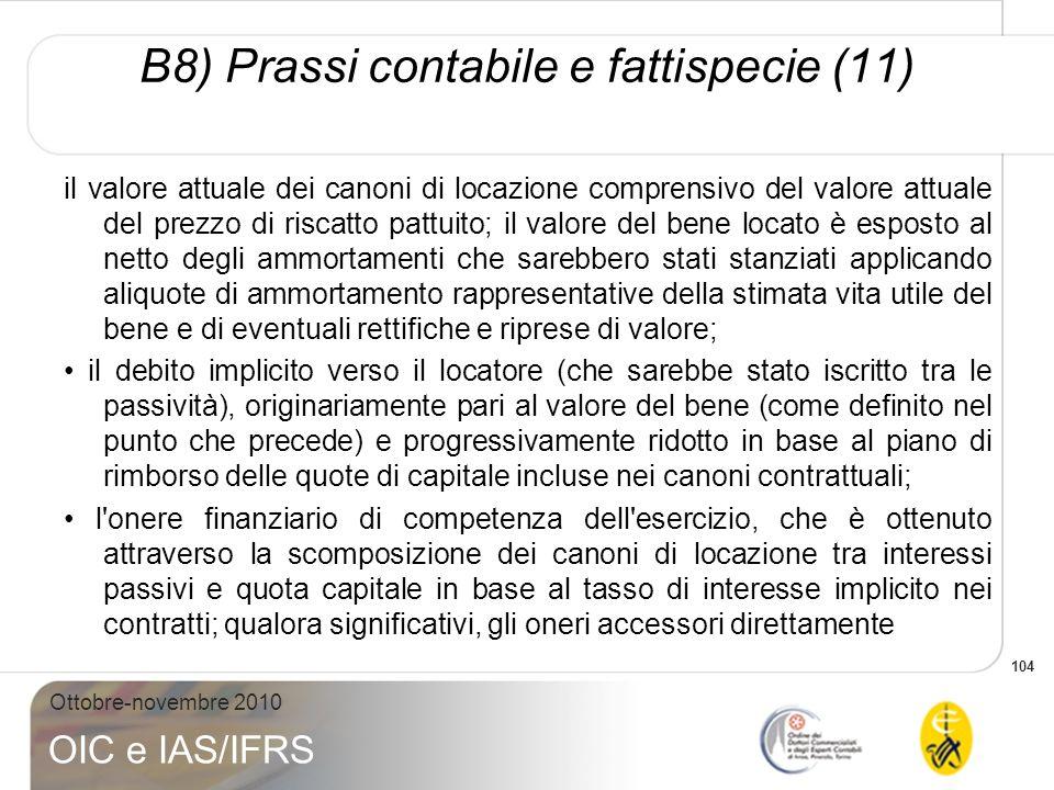 104 Ottobre-novembre 2010 OIC e IAS/IFRS il valore attuale dei canoni di locazione comprensivo del valore attuale del prezzo di riscatto pattuito; il
