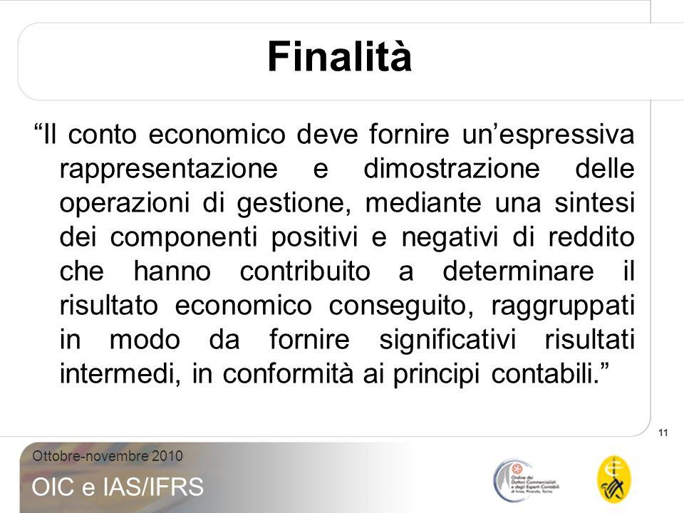 11 Ottobre-novembre 2010 OIC e IAS/IFRS Finalità Il conto economico deve fornire unespressiva rappresentazione e dimostrazione delle operazioni di ges