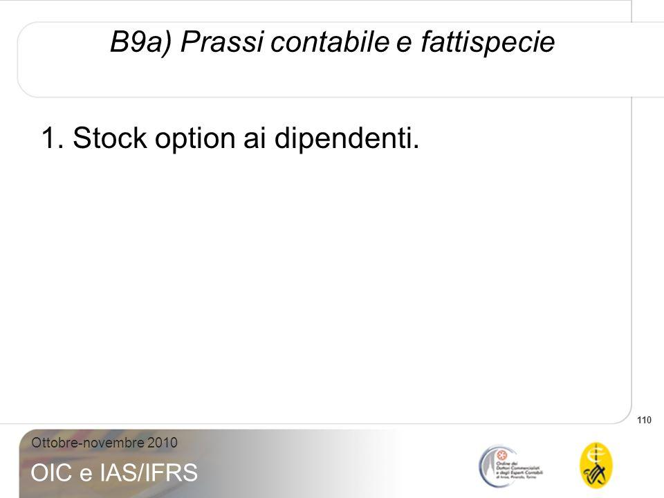 110 Ottobre-novembre 2010 OIC e IAS/IFRS B9a) Prassi contabile e fattispecie 1. Stock option ai dipendenti.