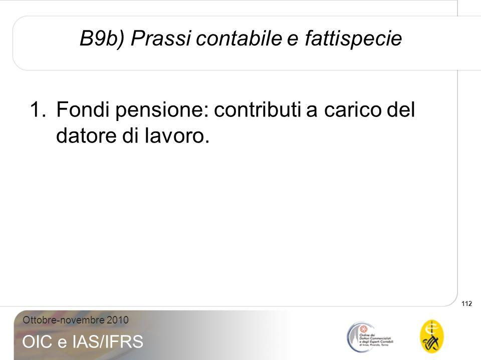 112 Ottobre-novembre 2010 OIC e IAS/IFRS 1.Fondi pensione: contributi a carico del datore di lavoro. B9b) Prassi contabile e fattispecie