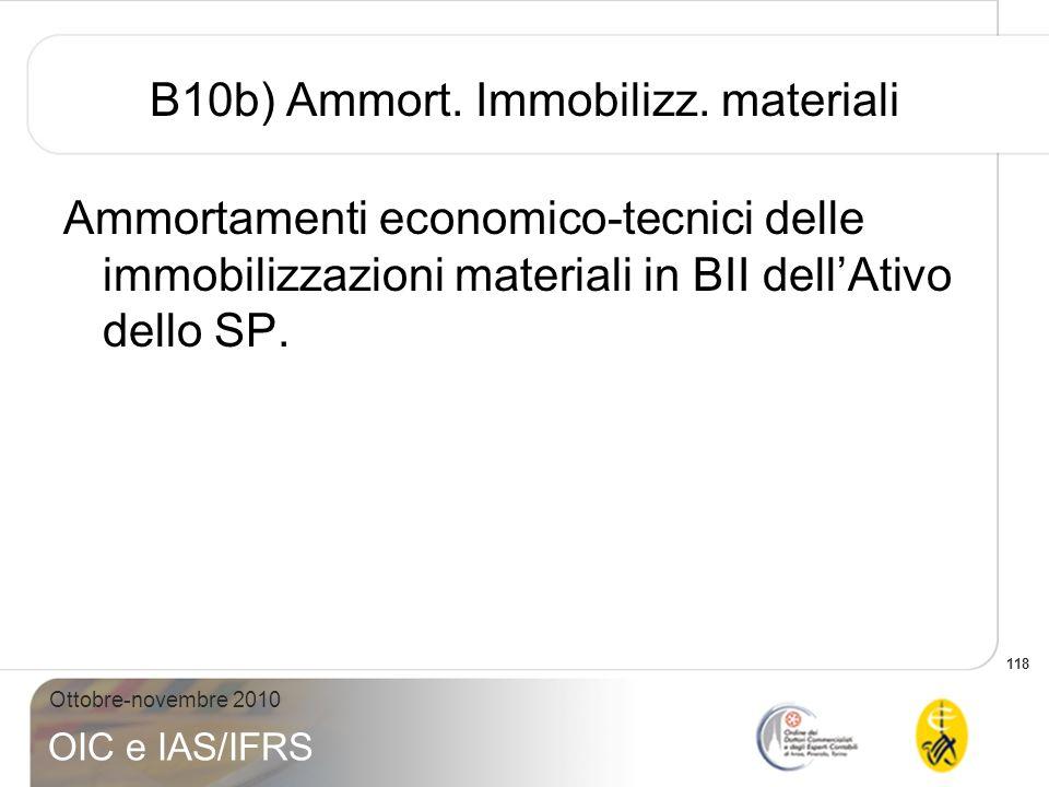 118 Ottobre-novembre 2010 OIC e IAS/IFRS B10b) Ammort. Immobilizz. materiali Ammortamenti economico-tecnici delle immobilizzazioni materiali in BII de