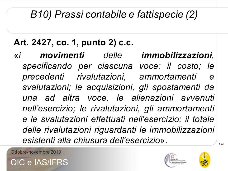 124 Ottobre-novembre 2010 OIC e IAS/IFRS Art. 2427, co. 1, punto 2) c.c. «i movimenti delle immobilizzazioni, specificando per ciascuna voce: il costo