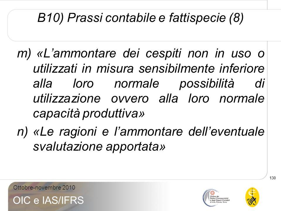 130 Ottobre-novembre 2010 OIC e IAS/IFRS m) «Lammontare dei cespiti non in uso o utilizzati in misura sensibilmente inferiore alla loro normale possib