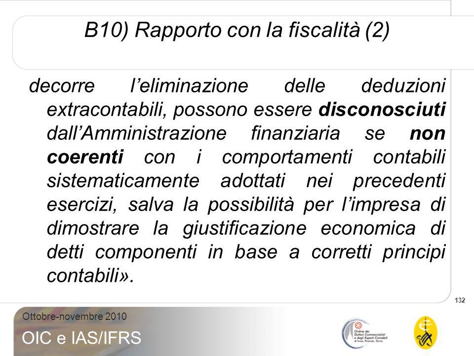 132 Ottobre-novembre 2010 OIC e IAS/IFRS B10) Rapporto con la fiscalità (2) decorre leliminazione delle deduzioni extracontabili, possono essere disco