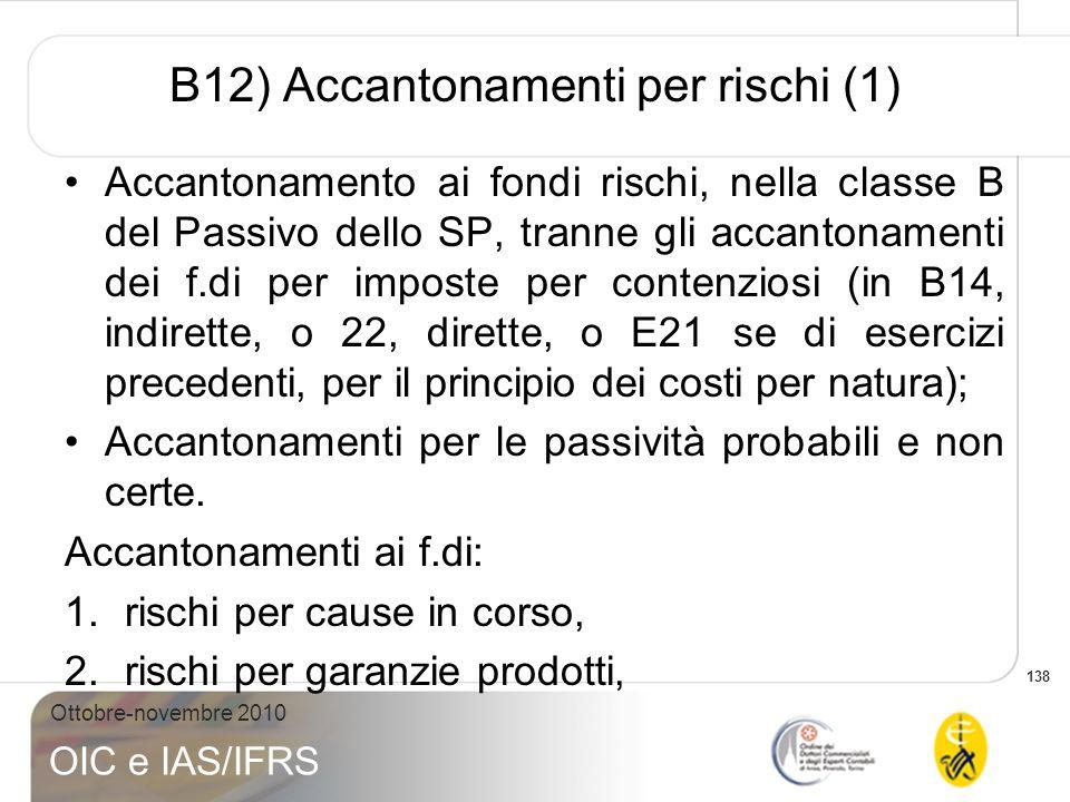 138 Ottobre-novembre 2010 OIC e IAS/IFRS B12) Accantonamenti per rischi (1) Accantonamento ai fondi rischi, nella classe B del Passivo dello SP, trann