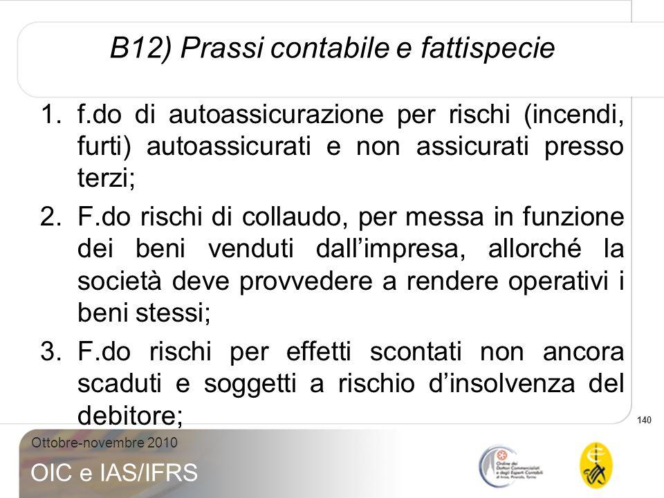 140 Ottobre-novembre 2010 OIC e IAS/IFRS B12) Prassi contabile e fattispecie 1.f.do di autoassicurazione per rischi (incendi, furti) autoassicurati e