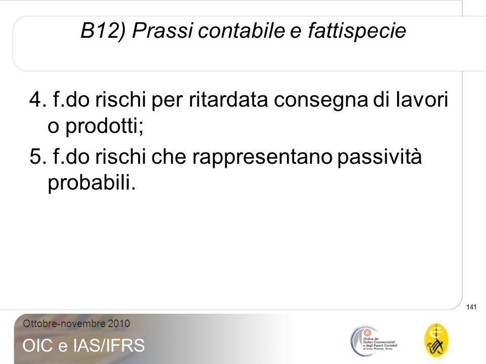 141 Ottobre-novembre 2010 OIC e IAS/IFRS 4. f.do rischi per ritardata consegna di lavori o prodotti; 5. f.do rischi che rappresentano passività probab