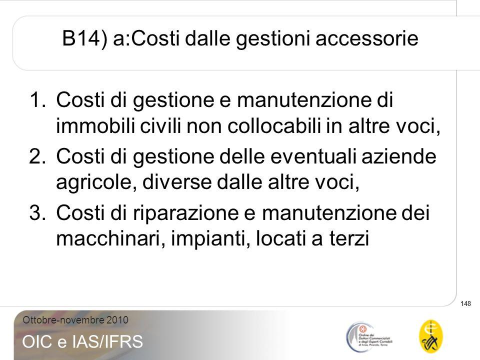 148 Ottobre-novembre 2010 OIC e IAS/IFRS B14) a:Costi dalle gestioni accessorie 1.Costi di gestione e manutenzione di immobili civili non collocabili