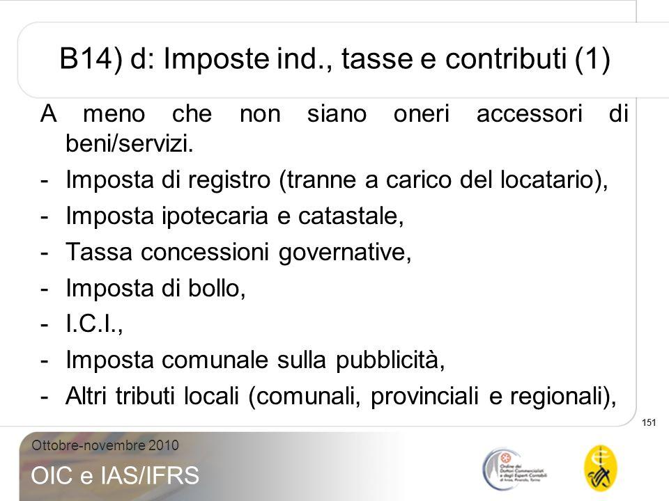 151 Ottobre-novembre 2010 OIC e IAS/IFRS B14) d: Imposte ind., tasse e contributi (1) A meno che non siano oneri accessori di beni/servizi. -Imposta d
