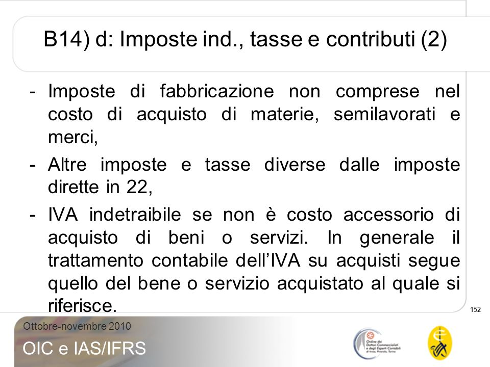 152 Ottobre-novembre 2010 OIC e IAS/IFRS B14) d: Imposte ind., tasse e contributi (2) -Imposte di fabbricazione non comprese nel costo di acquisto di