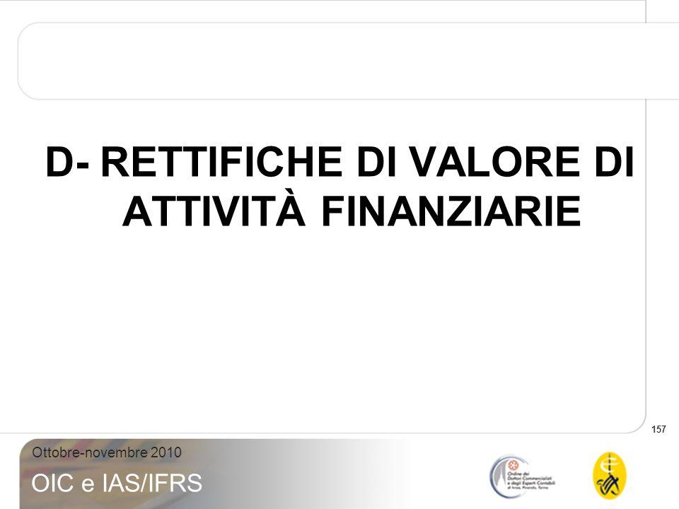 157 Ottobre-novembre 2010 OIC e IAS/IFRS D- RETTIFICHE DI VALORE DI ATTIVITÀ FINANZIARIE