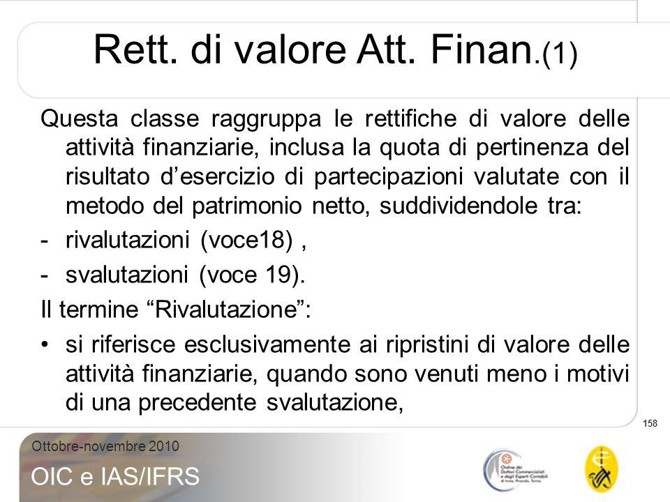 158 Ottobre-novembre 2010 OIC e IAS/IFRS Questa classe raggruppa le rettifiche di valore delle attività finanziarie, inclusa la quota di pertinenza de