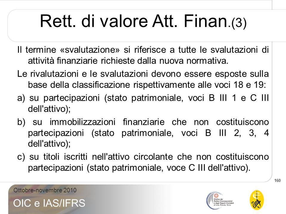 160 Ottobre-novembre 2010 OIC e IAS/IFRS Il termine «svalutazione» si riferisce a tutte le svalutazioni di attività finanziarie richieste dalla nuova