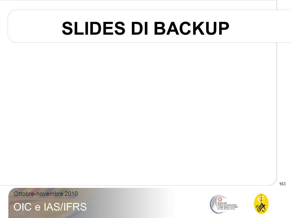 163 Ottobre-novembre 2010 OIC e IAS/IFRS SLIDES DI BACKUP