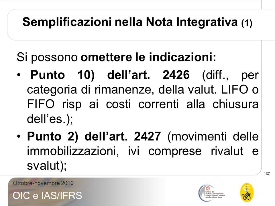 167 Ottobre-novembre 2010 OIC e IAS/IFRS Semplificazioni nella Nota Integrativa (1) Si possono omettere le indicazioni: Punto 10) dellart. 2426 (diff.