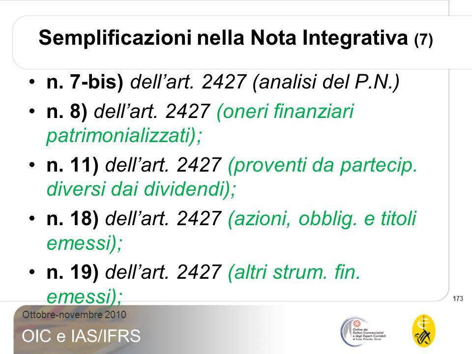 173 Ottobre-novembre 2010 OIC e IAS/IFRS Semplificazioni nella Nota Integrativa (7) n. 7-bis) dellart. 2427 (analisi del P.N.) n. 8) dellart. 2427 (on