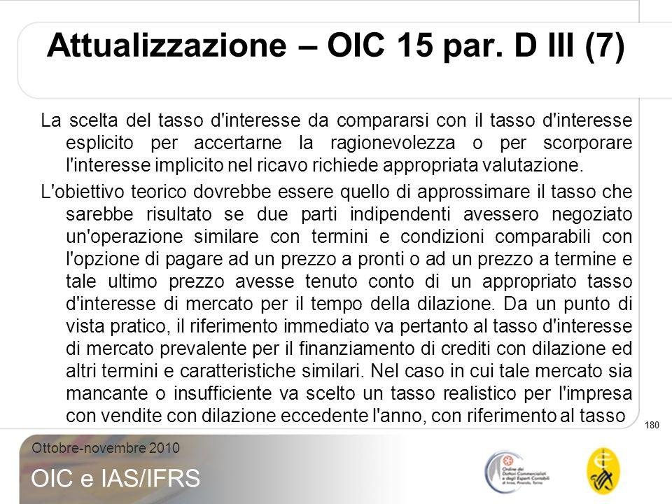 180 Ottobre-novembre 2010 OIC e IAS/IFRS La scelta del tasso d'interesse da compararsi con il tasso d'interesse esplicito per accertarne la ragionevol