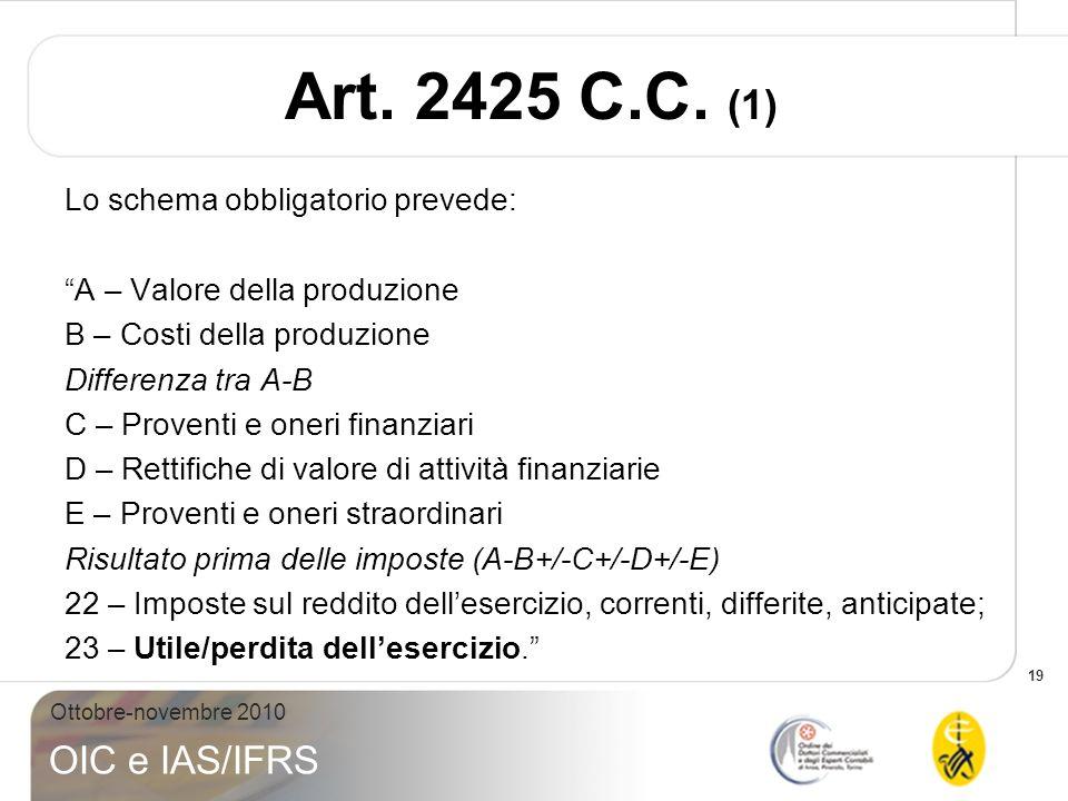 19 Ottobre-novembre 2010 OIC e IAS/IFRS Art. 2425 C.C. (1) Lo schema obbligatorio prevede: A – Valore della produzione B – Costi della produzione Diff