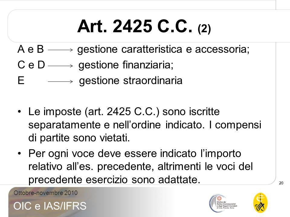 20 Ottobre-novembre 2010 OIC e IAS/IFRS Art. 2425 C.C. (2) A e B gestione caratteristica e accessoria; C e D gestione finanziaria; E gestione straordi