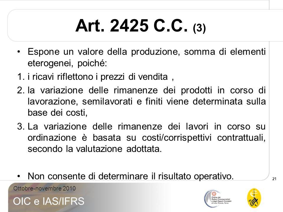 21 Ottobre-novembre 2010 OIC e IAS/IFRS Art. 2425 C.C. (3) Espone un valore della produzione, somma di elementi eterogenei, poiché: 1.i ricavi riflett