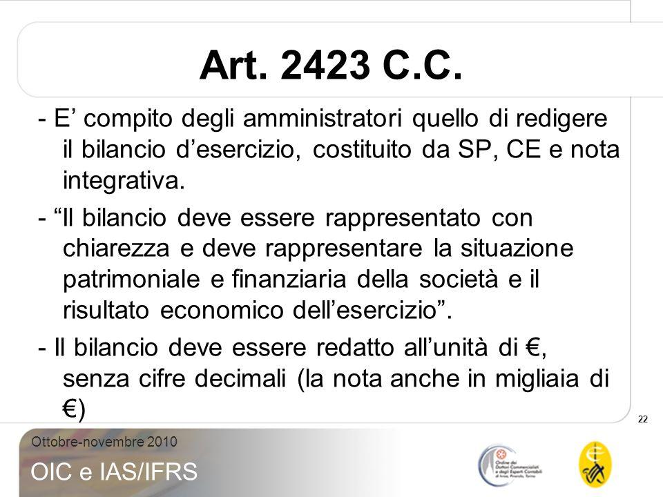 22 Ottobre-novembre 2010 OIC e IAS/IFRS Art. 2423 C.C. - E compito degli amministratori quello di redigere il bilancio desercizio, costituito da SP, C