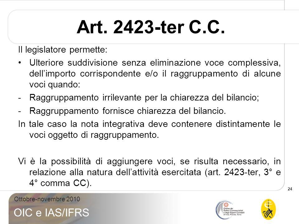 24 Ottobre-novembre 2010 OIC e IAS/IFRS Art. 2423-ter C.C. Il legislatore permette: Ulteriore suddivisione senza eliminazione voce complessiva, dellim