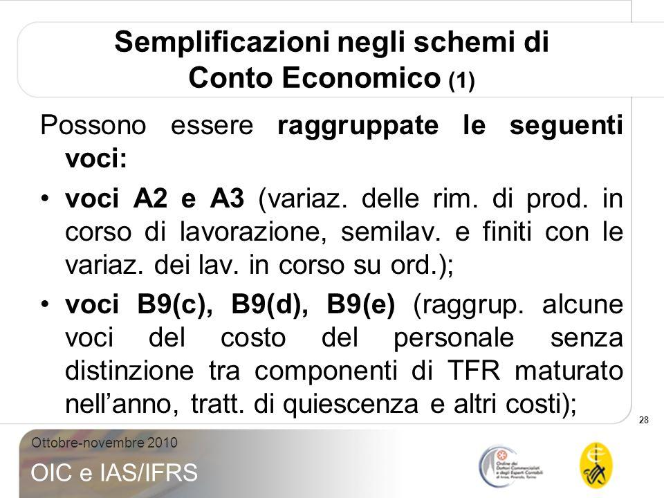 28 Ottobre-novembre 2010 OIC e IAS/IFRS Semplificazioni negli schemi di Conto Economico (1) Possono essere raggruppate le seguenti voci: voci A2 e A3