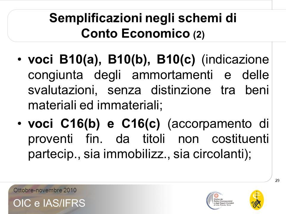 29 Ottobre-novembre 2010 OIC e IAS/IFRS Semplificazioni negli schemi di Conto Economico (2) voci B10(a), B10(b), B10(c) (indicazione congiunta degli a