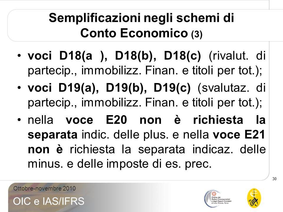 30 Ottobre-novembre 2010 OIC e IAS/IFRS Semplificazioni negli schemi di Conto Economico (3) voci D18(a ), D18(b), D18(c) (rivalut. di partecip., immob