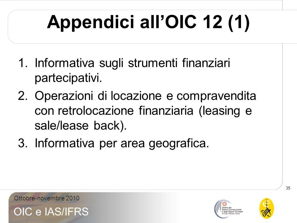 35 Ottobre-novembre 2010 OIC e IAS/IFRS Appendici allOIC 12 (1) 1.Informativa sugli strumenti finanziari partecipativi. 2.Operazioni di locazione e co