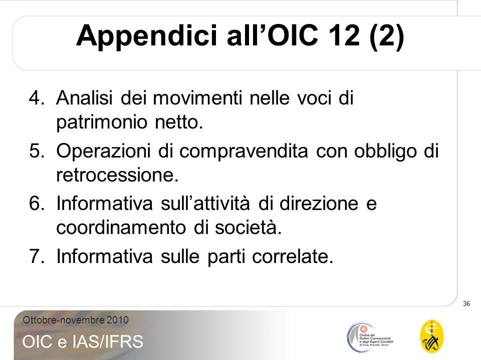 36 Ottobre-novembre 2010 OIC e IAS/IFRS Appendici allOIC 12 (2) 4.Analisi dei movimenti nelle voci di patrimonio netto. 5.Operazioni di compravendita