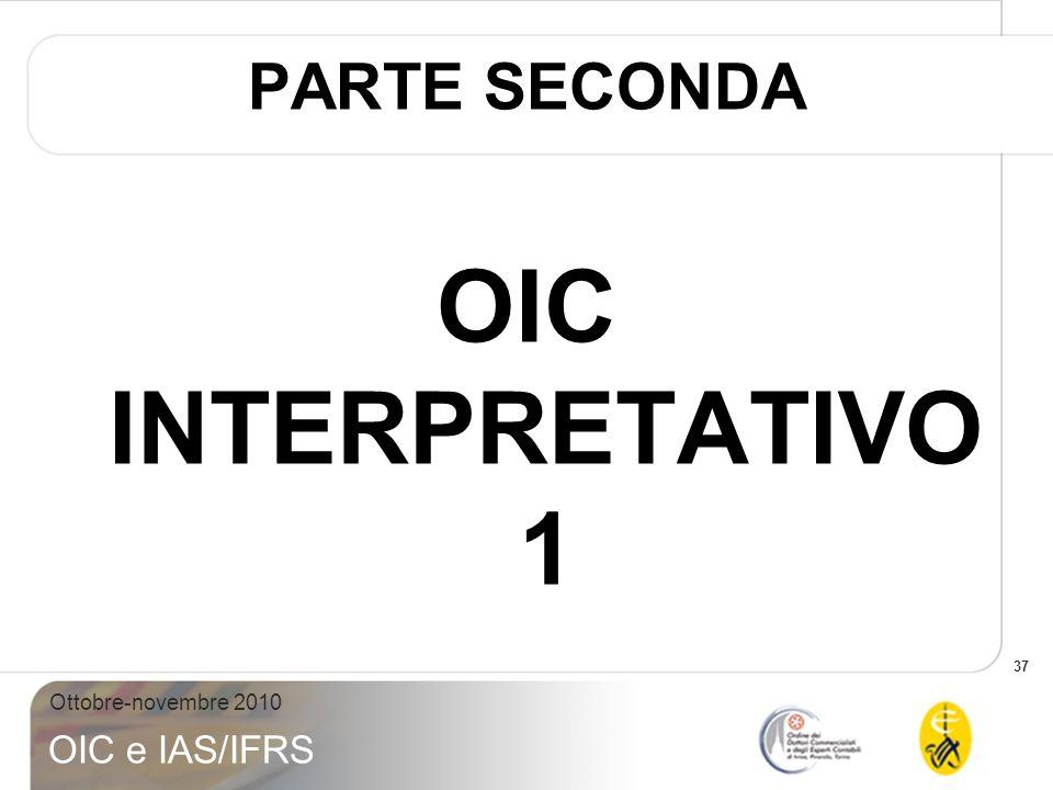 37 Ottobre-novembre 2010 OIC e IAS/IFRS PARTE SECONDA OIC INTERPRETATIVO 1