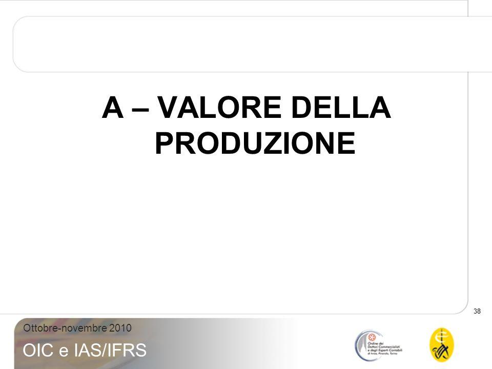 38 Ottobre-novembre 2010 OIC e IAS/IFRS A – VALORE DELLA PRODUZIONE