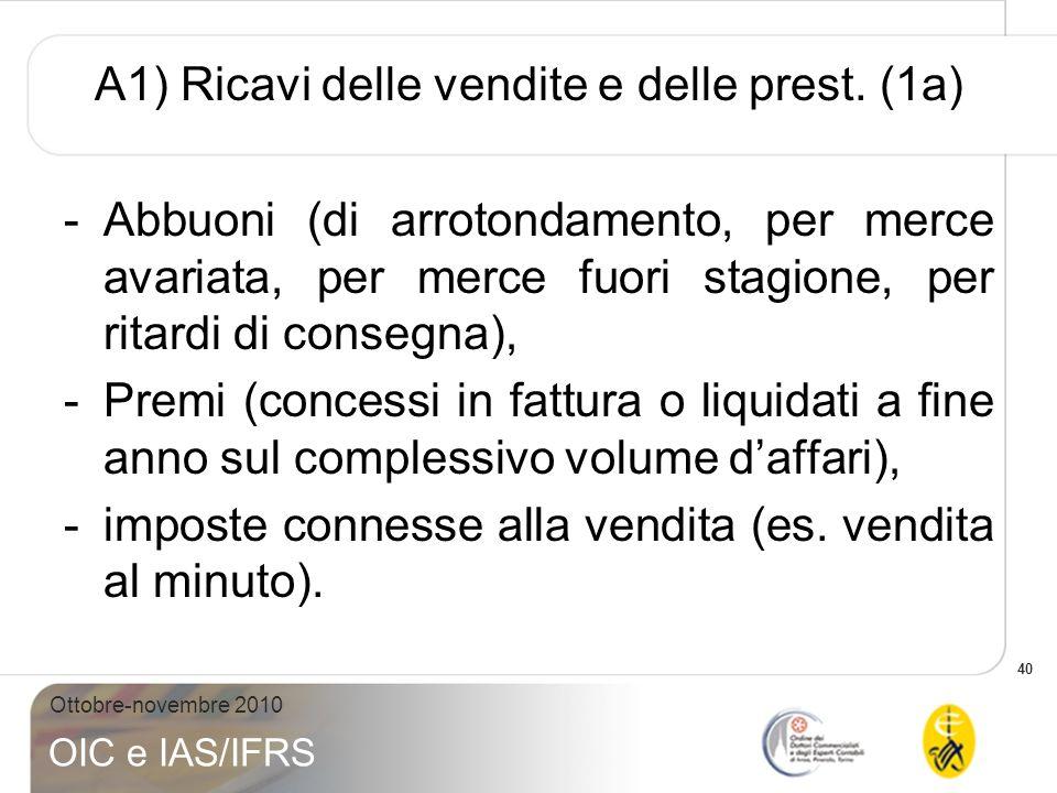40 Ottobre-novembre 2010 OIC e IAS/IFRS A1) Ricavi delle vendite e delle prest. (1a) -Abbuoni (di arrotondamento, per merce avariata, per merce fuori