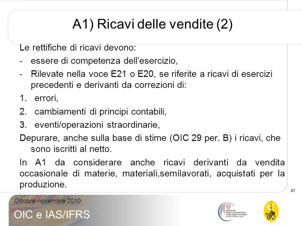 41 Ottobre-novembre 2010 OIC e IAS/IFRS A1) Ricavi delle vendite (2) Le rettifiche di ricavi devono: -essere di competenza dellesercizio, -Rilevate ne