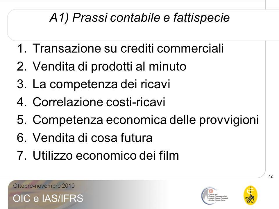 42 Ottobre-novembre 2010 OIC e IAS/IFRS A1) Prassi contabile e fattispecie 1.Transazione su crediti commerciali 2.Vendita di prodotti al minuto 3.La c