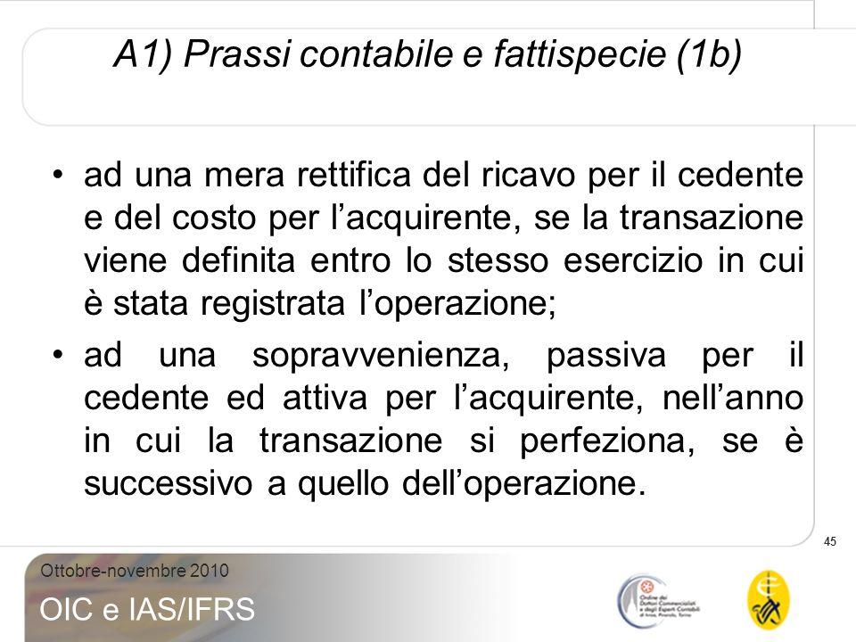 45 Ottobre-novembre 2010 OIC e IAS/IFRS A1) Prassi contabile e fattispecie (1b) ad una mera rettifica del ricavo per il cedente e del costo per lacqui