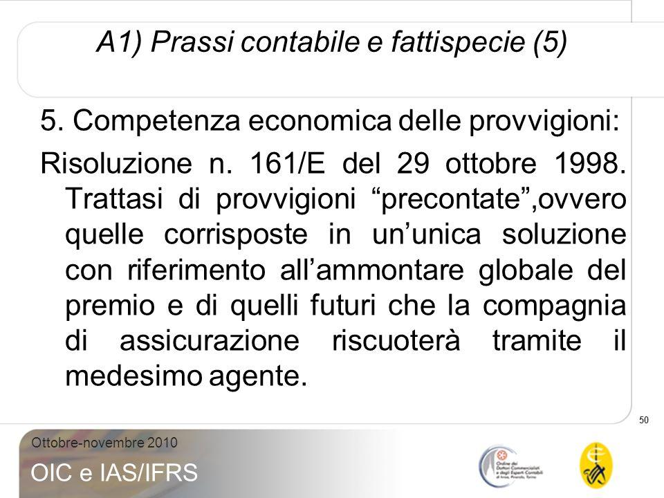 50 Ottobre-novembre 2010 OIC e IAS/IFRS A1) Prassi contabile e fattispecie (5) 5. Competenza economica delle provvigioni: Risoluzione n. 161/E del 29